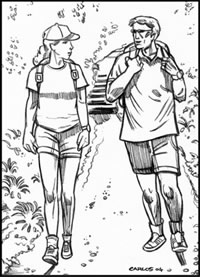 man and woman on a walking for exercise