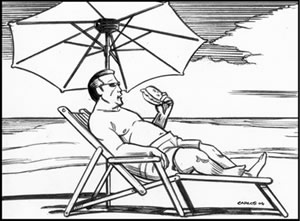 illustration of overweight person eating unhealthy food lying in the sun