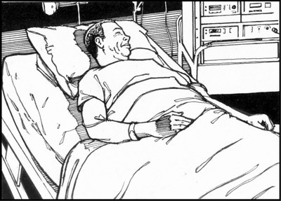 image of person lying in hospital bed